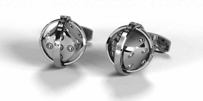 """Manschettenknöpfe - """"dice silver"""""""