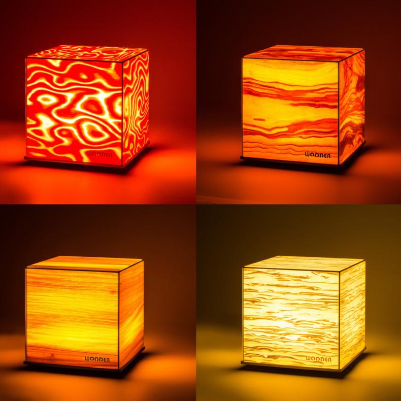 Wooden DICE Lichtwürfel mit Echtholz-Design Übersicht