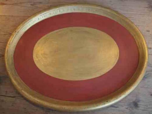 ovales Tablett aus Metall klein