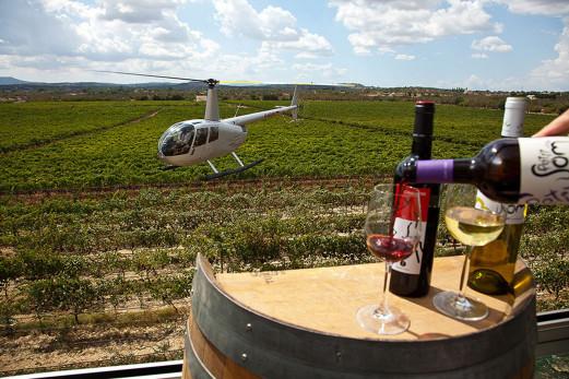 Helikopterflug und Wein Premiumpacket auf Mallorca