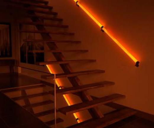 Wooden Handrail Seitenblick Beleuchtung
