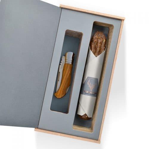 Wildschwein Salami und Messer Präsent 15