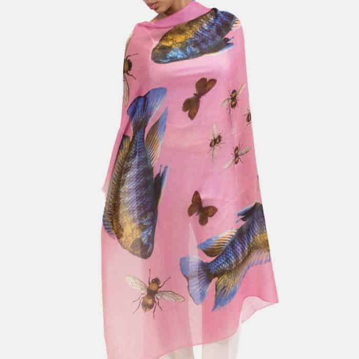 Butterfly & Fish Scarf pink 3